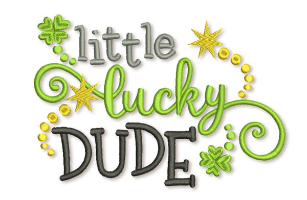 Little Lucky Dude St Patrick Filled Embroidery Design SP012
