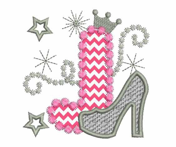 Pink Silver Letter J High Heel Shoe for Cute Girls Appliqué DL014