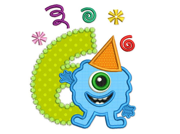 Funny Monster Birthday Number 6 Applique HB063
