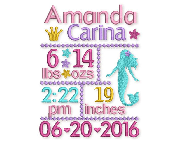 Mermaid Birth Announcement Template BA019
