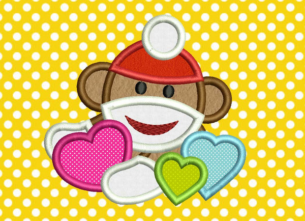 Sock Monkey and Hearts VA031