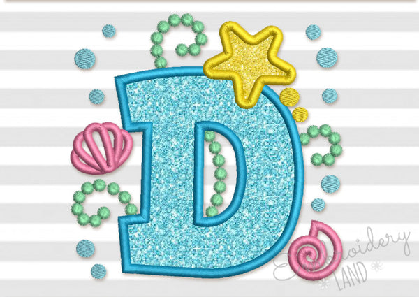 Cute Mermaid Letter D Applique DL149