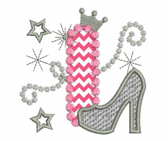 Pink Silver Letter I High Heel Shoe Appliqué DL012
