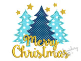 Merry Christmas Trees Free Edge Applique CHR090