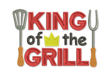 King of the Grill Filled Embroidery Design  DE026