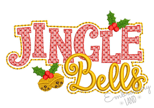 Jingle Bells Motif Filled and Mylar Technique Embroidery Design CHR081