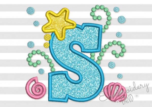 Cute Mermaid Sea Letter S Applique DL161