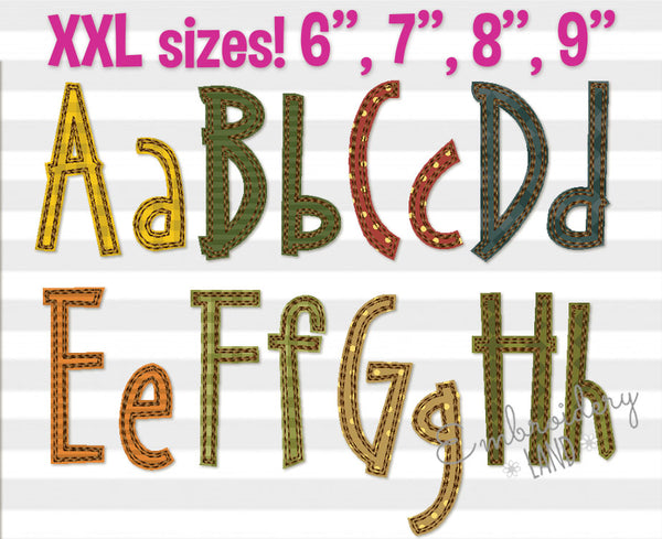 "XXL sizes! Narrow Free Edge Raggy ""Suri"" Applique Alphabet AL079"