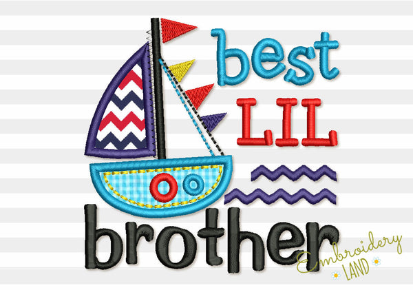 Best Lil Brother Ship Applique BA033