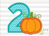 Number 2 Pumpkin Applique TG018