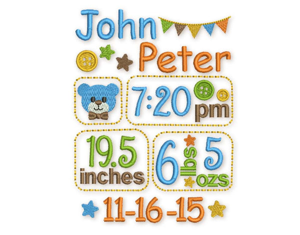 Custom Baby Boy Birth Announcement Embroidery Design 5x7 or 6x10 hoop sizes CU005