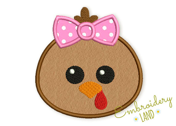 Cute Turkey with Bow Applique TG024