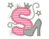 Pink Silver Letter S High Heel Shoe for Cute Girls Applique DL001