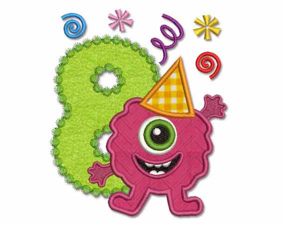 Funny Monster Birthday Number 8 Applique HB022
