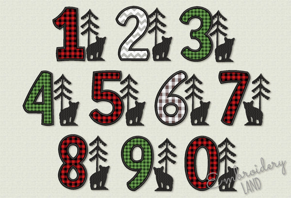 Buffalo Applique Numbers Birthday Set HB119