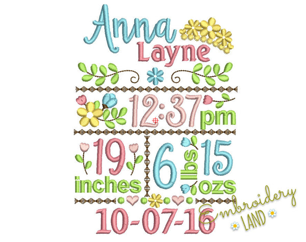 CUSTOM Flower Birth announcement CU006