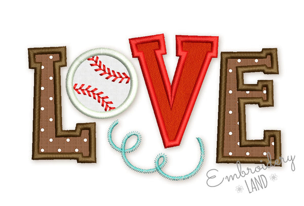 Love Baseball Applique SP023