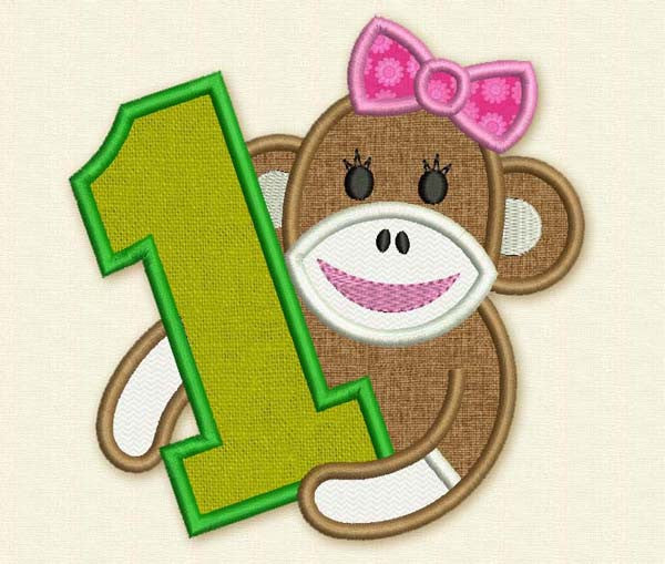 Sock Monkey Number 1 Applique HB017