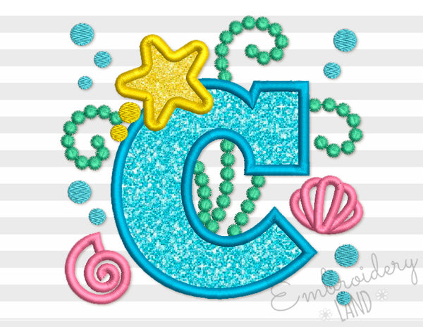 Cute Mermaid Sea Letter C Applique DL147