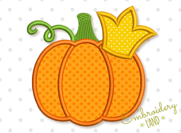 Pumpkin with Crown Applique DE057