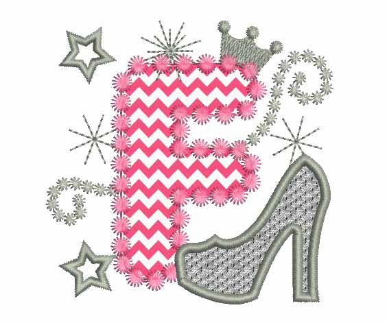 Pink Silver Letter F High Heel Applique Embroidery Designs DL010