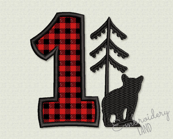 Number 1 Birthday Applique HB108