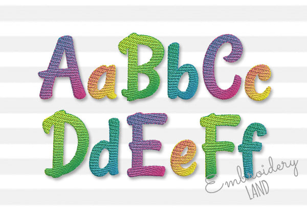 Ombre Gradient Filled Embroidery Narrow Font AL102
