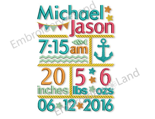 Custom Baby Nautical Newborn Announcement Embroidery Design 5x7 or 6x10 hoop sizes CU002