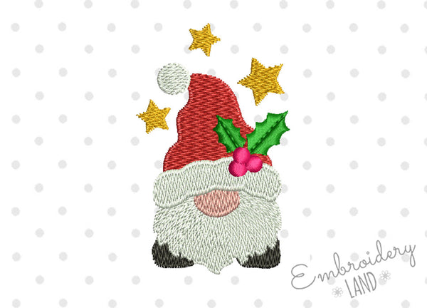 Santa Gnome Filled Mini Design 3 sizes for 4x4 hoop CHR093