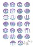 Circle Monogram Gradient Font 10 sizes ORDINARY threads required AL105