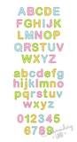"Mini Sizes 1"", 1.2"", 1.5"", 1.8"" Free Edge Applique Alphabet AL057"