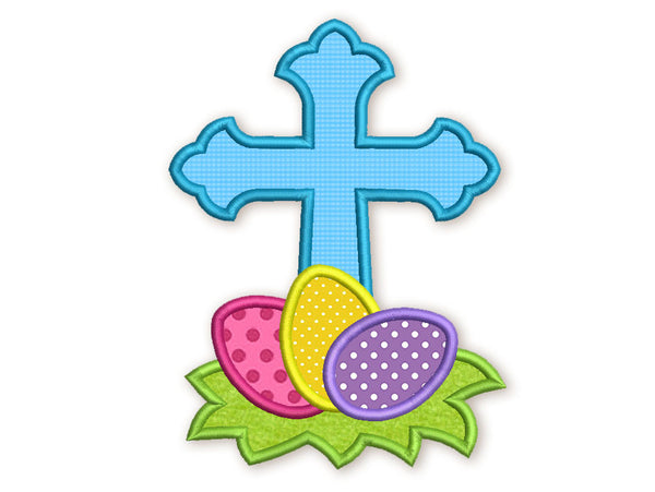 Cross Easter Eggs Applique EA008
