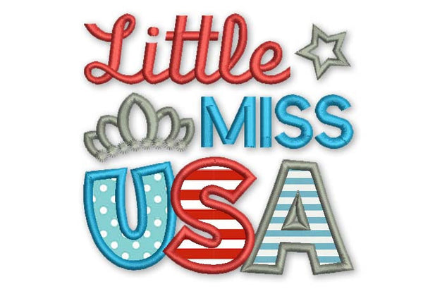 Little Miss USA 4th July Applique DE030