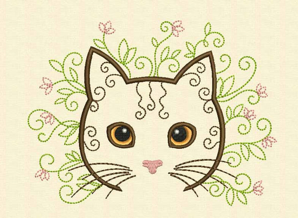 flower cat machine embroidery design on embroideryland embroideryland