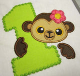 Funny Monkey Birthday Number 1 for Baby Girl Applique HB016