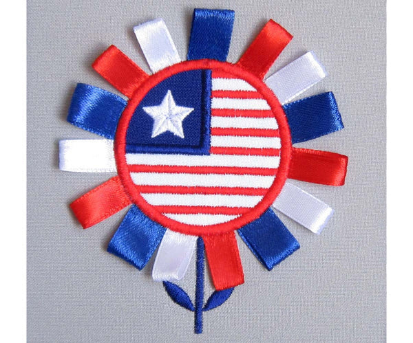 July 4th Day Flower Appliqué DE005