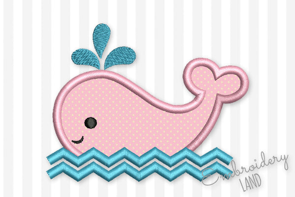 Cute Whale Applique BA059