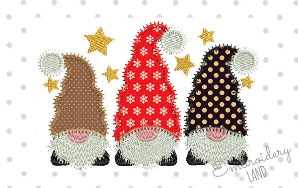Three Gnomes Applique DE087