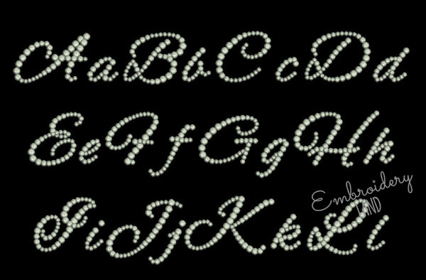 "BX included! ""Rhinestones"" Script Embroidery Font 3 sizes AL089"
