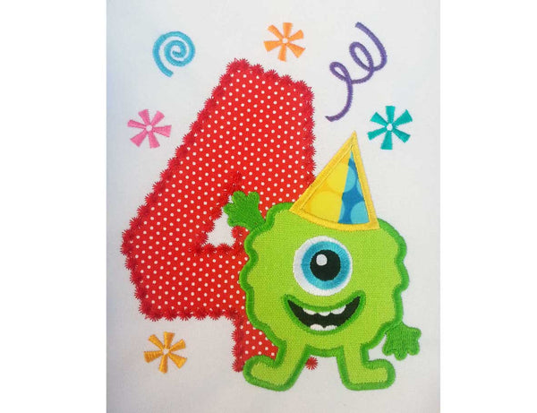 Funny Monster Number 4 Applique HB053