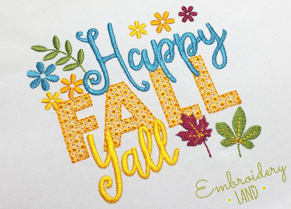 Happy Fall Yall Embroidery Design HAL020