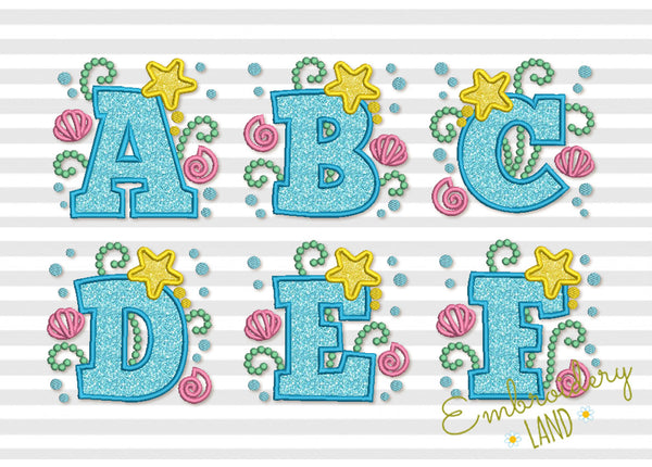 Mermaid Applique Alphabet AL047