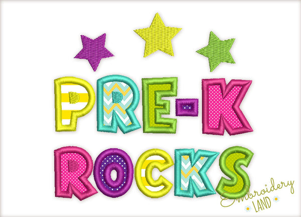 Pre K Rocks Back To School Applique Embroidery Design By