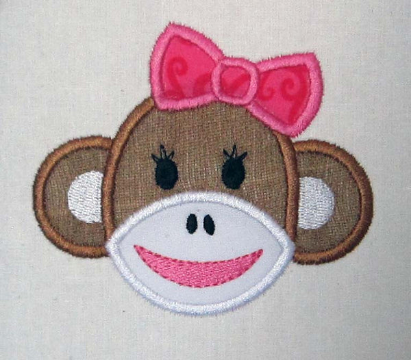 sock monkey face template - sock monkey face applique embroidery design on
