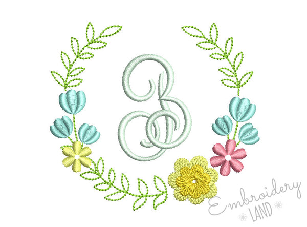 Flower Monogram Frame FF027