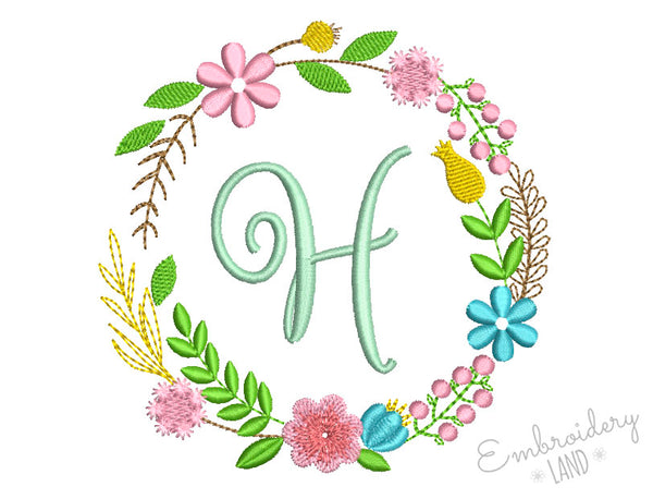 Flower Monogram Frame FF023