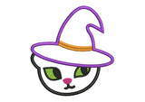 Cat and witches hat Halloween Applique HAL018