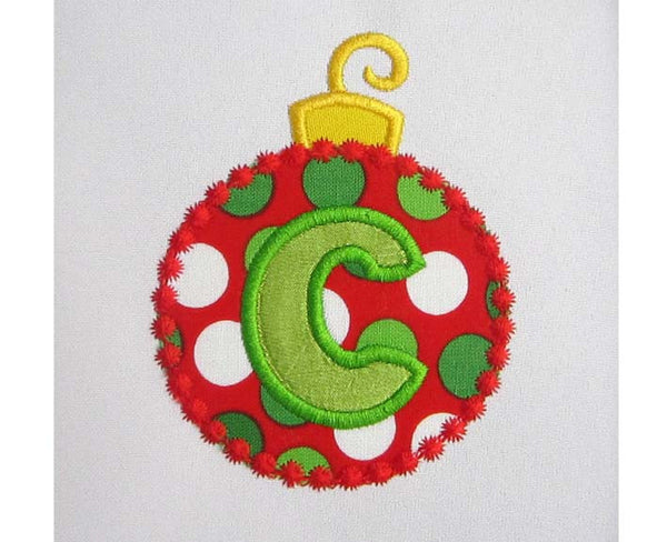 Christmas Ball Font Frame Monogram Applique CHR033