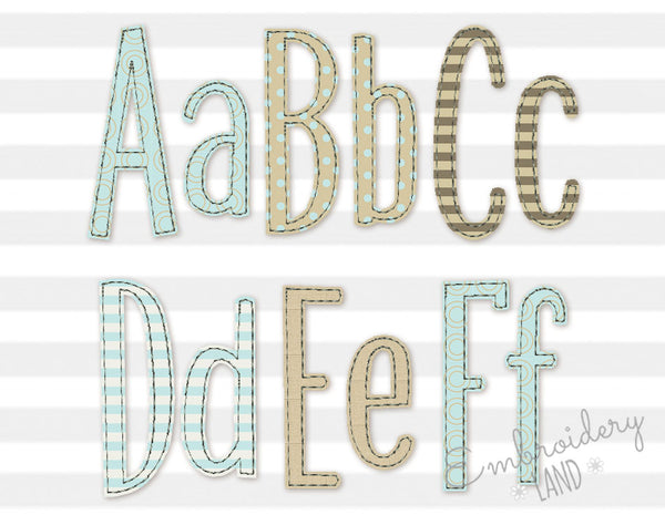 Narrow Free Edge Raggy Applique Font AL085