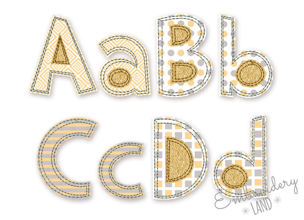 Free Edge Raggy Applique Alphabet AL067
